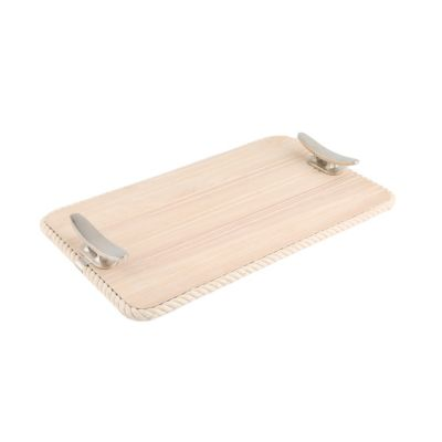 Wood Serve Tray with Rope Trim