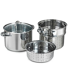 4-Piece Stainless Steel Multi Cooker with Steamer