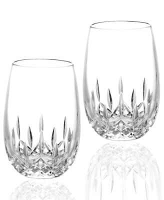 Stemware Lismore Nouveau Stemless White Wine Glasses, Set of 2