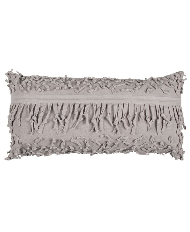 "Rizzy Home Textured 14"" x 26"" Pillow with Fringe Cover"