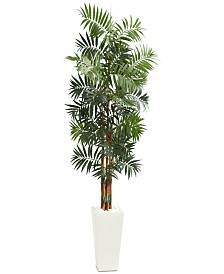 Nearly Natural 7' Bamboo Palm Artificial Tree in White Tower Planter