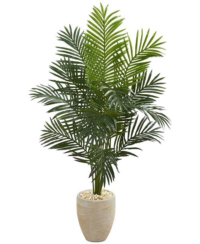 Nearly Natural 5.5' Paradise Palm Artificial Tree in Sand-Colored Planter