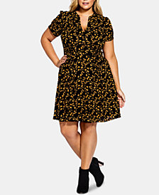 City Chic Plus Size Printed Golden Dress