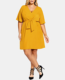 City Chic Plus Size Knot-Front Dress, Created For Macy's