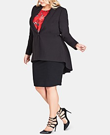 Trendy Plus Size Pleated Tail-Coat Topper Jacket