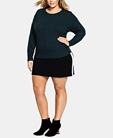 Trendy Plus Size Studded Sweater