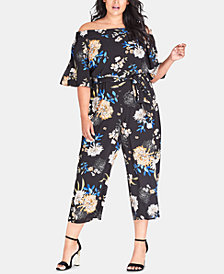 City Chic Plus Size Azalea Floral Jumpsuit
