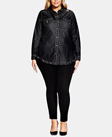 City Chic Trendy Plus Size Cotton Distressed Denim Shirt