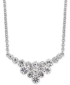 """I.N.C. Silver-Tone Crystal Cluster Collar Necklace, 16"""" + 3"""" extender, Created for Macy's"""
