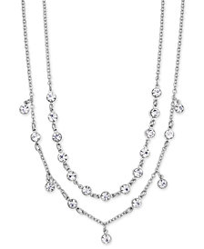 """I.N.C. Silver-Tone Crystal Double-Row Collar Necklace, 15"""" + 3"""" extender, Created for Macy's"""