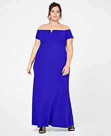 Plus Size Off-The-Shoulder Split-V Gown