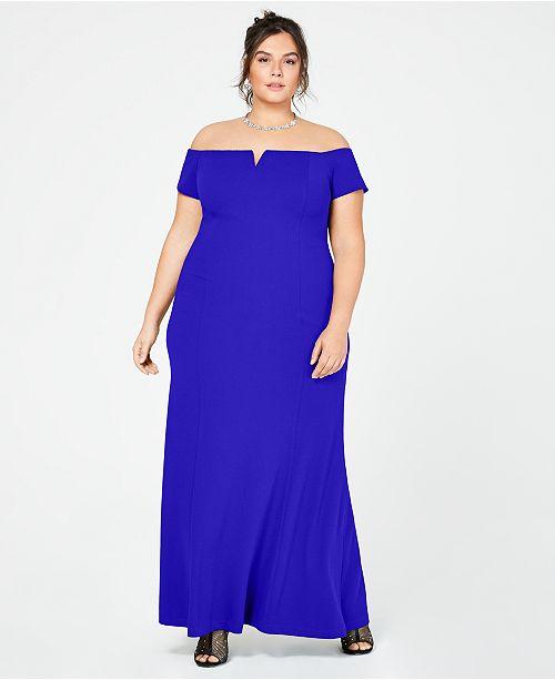 Calvin Klein Plus Size Off-The-Shoulder Split-V Gown