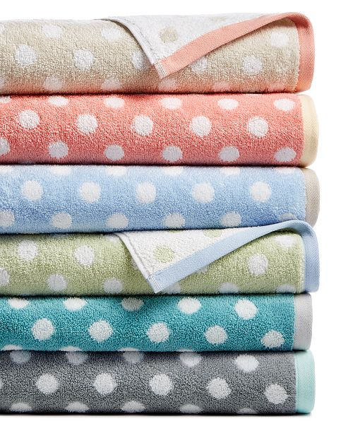 Martha Stewart Collection Cotton Spa Fashion Dot Bath Towel Collection, Created for Macy's