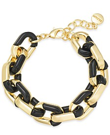 Alfani Gold-Tone & Black Acrylic Large Link Bracelet, Created for Macy's