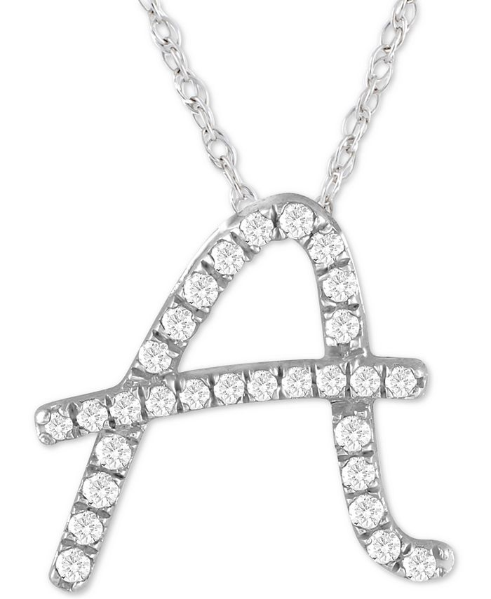 """Macy's - Diamond Initial Pendant Necklace (1/10 ct. t.w.) in Sterling Silver, 16"""" + 2"""" Extender"""