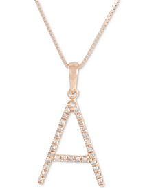 "Diamond (1/10 ct. t.w.) Initial Pendant Necklace in 10k Rose Gold, 16"" + 2"" extender"