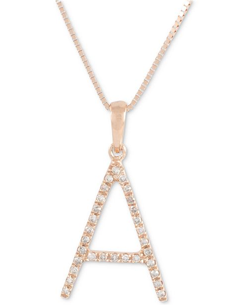 """Macy's Diamond (1/10 ct. t.w.) Initial Pendant Necklace in 10k Rose Gold, 16"""" + 2"""" extender"""
