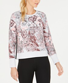 Calvin Klein Performance Bouquet Printed Long-Sleeve Top