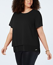 6240b5d282406 MICHAEL Michael Kors Plus Size Split-Back Layered Top