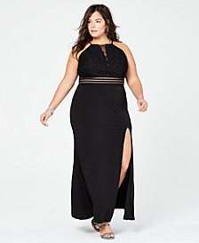 City Studios Trendy Plus Size Banded-Waist Slit Gown