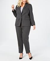 46762402075 Calvin Klein Plus Size Plaid Blazer   Straight-Leg Pants