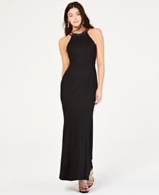 Nightway Glitter-Knit Gown