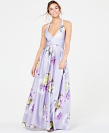 Jump Juniors' Floral-Print Halter Gown