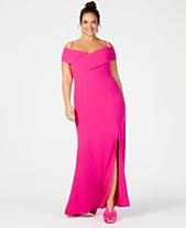 bf5c0b71b37 Nightway Plus Size Portrait-Collar Scuba Gown