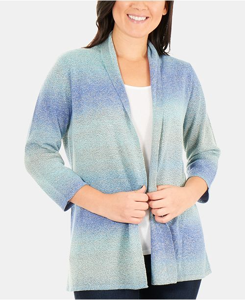 NY Collection Petite Ombré Open-Front Cardigan