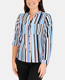 NY Collection Petite Striped Shirt