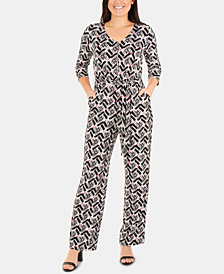 NY Collection Petite Printed Zip-Front Jumpsuit