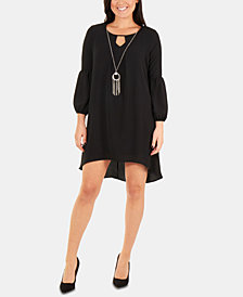 NY Collection Petite High-Low Necklace Dress