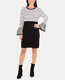 Petite Colorblocked Striped Sweater Dress