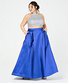 B Darlin Trendy Plus Size 2-Pc. Embroidered Satin Halter Gown