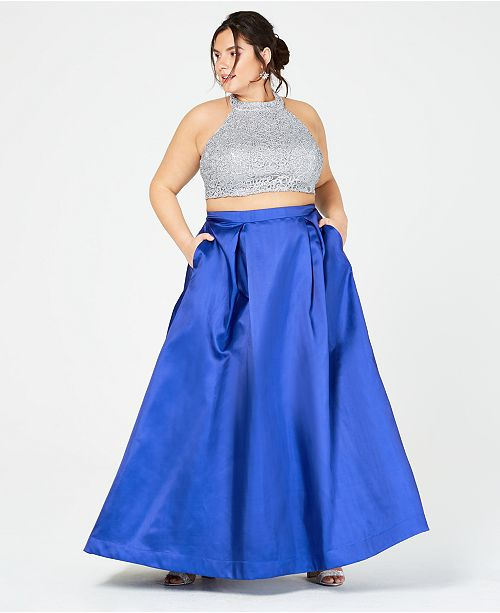 7eb8bf7dee04e ... B Darlin Trendy Plus Size 2-Pc. Embroidered Satin Halter Gown ...