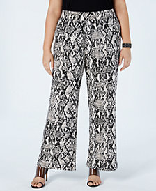 I.N.C. Plus Size Snake-Print Wide-Leg Pants, Created for Macy's
