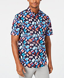 Club Room Men's Luggage Tag Print Shirt, Created for Macy's
