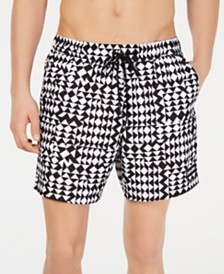 "Calvin Klein Men's 5.5"" Quilted Volley Swim Trunks, Created for Macy's"