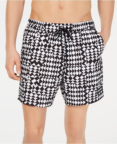 """Calvin Klein Men's 5.5"""" Quilted Volley Swim Trunks, Created for Macy's"""