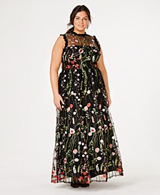 Trendy Plus Size Ruffle-Trim Embroidered Gown, Created for Macy's