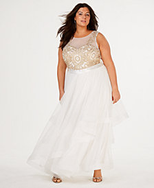City Studios Trendy Plus Size Embellished Tiered-Hem Gown