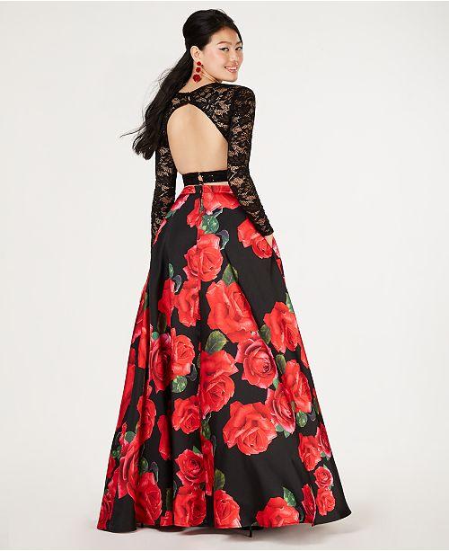 98200c67cebc ... B Darlin Juniors' 2-Pc. Lace Top & Printed Long Skirt, Created ...