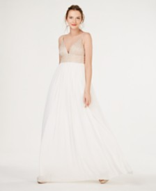 Speechless Juniors' Embellished Tulle-Underlay Gown, Created for Macy's