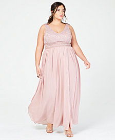 City Studios Trendy Plus Size Glitter Lace & Chiffon Gown
