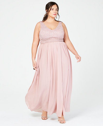 City Studios Trendy Plus Size Glitter Lace & Chiffon Gown