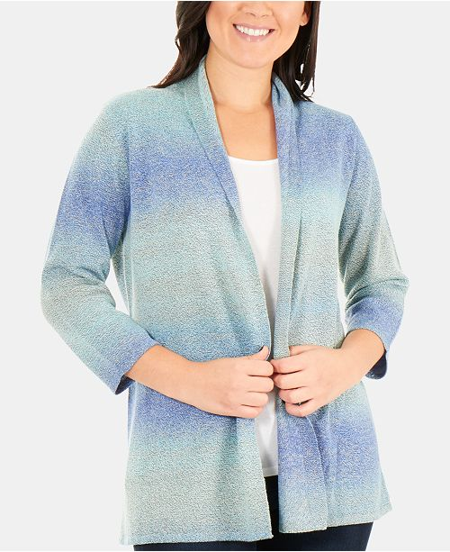 NY Collection Ombré Open-Front Cardigan