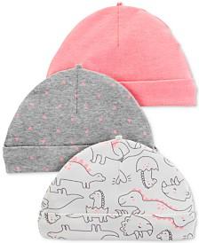Carter's Baby Girls 3-Pc. Dino-Print Beanie Hats