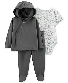 Carter's Baby Boys 3-Pc. Dino-Print Bodysuit, Hoodie & Pants Set