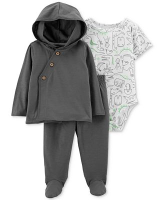 Carter's Baby Boys 3-Pc. Dino-Print Bodysuit, Hoodie & Pants Set