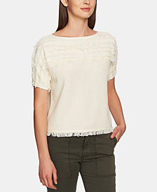 1.STATE Cotton Fringe Short-Sleeve Top